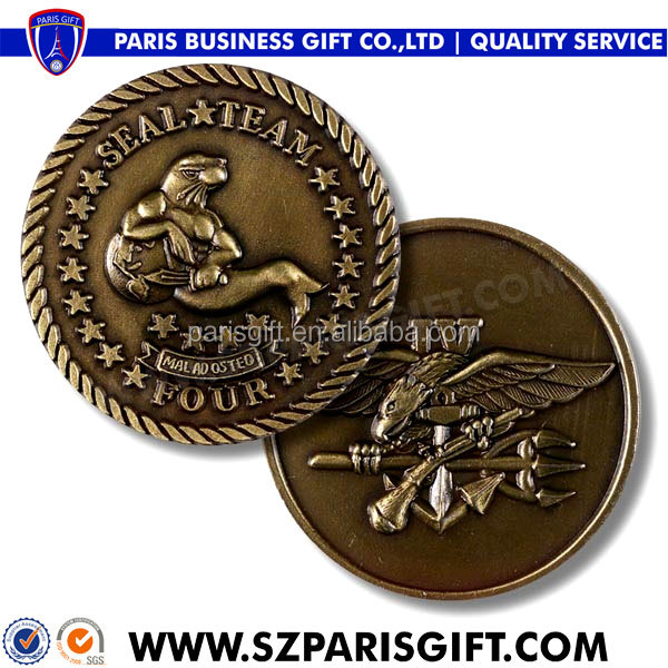 wholesale custom 3d sports challenge coins with seal and falcon logo