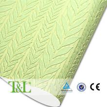 2016 Shanghai solid color wallpapers 3d / light green leaf foamed non-woven wallpaper