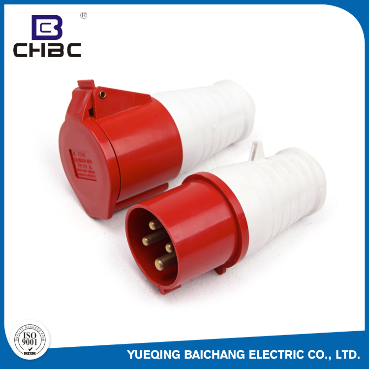 CHBC 4 Pin Red Colour ABS Plastic Waterproof Industrial Electrical Plugs And Sockets