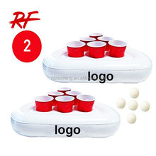 Inflatable Beer Pong Racks, Includes 5 Ping Pong Balls - Floating Pool Party Game Float Set