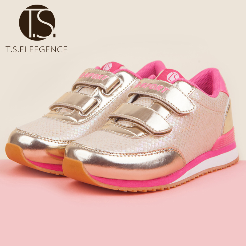 child casual shoe Promotion Cool fashion children casual Sport falts for big Girl sneakers toddler kids Golden shoes