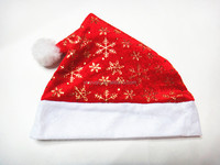 Hot Stamping Decorated Santa Claus Pleuche Hat