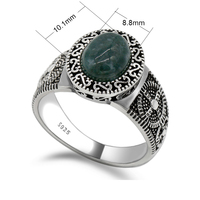 Promotion 925 Sterling Silver Oval Green Natural Stone Men Ring Vintage Retro Men Ring in Silver Jewelry