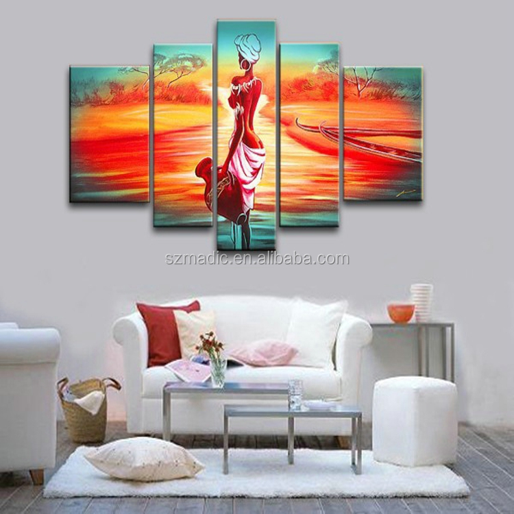 Handmade Canvas Painting 5 Panel Abstract African Woman Oil Painting Modern Abstract Wall Art