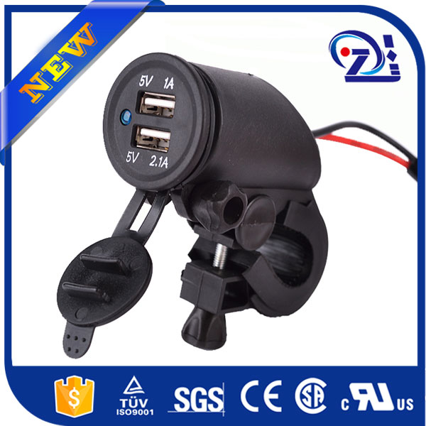 Modern 12V Car 2 Port Truck motorbike Double Car USB Charger With Voltmeter For iphone mobile phone mp3 camera