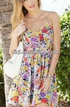2013 casual summer floral strap design dress pleated dress
