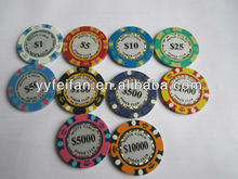 14 Gram Monte Carlo Clay Poker Chip, Available in 10 colors