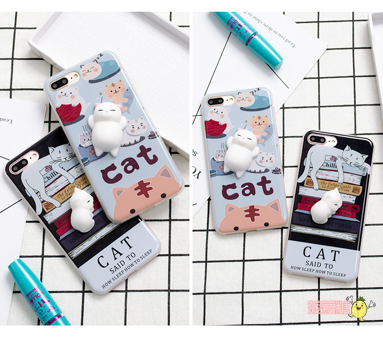 Lovely 3D Soft lazy cat phone Cases For iphone 6 6s 6plus 7 7Plus cartoon Soft TPU phone back cover cases