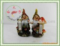 Resin small gnome figurines with thermometer
