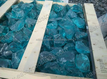 light blue glass pebble with factory price