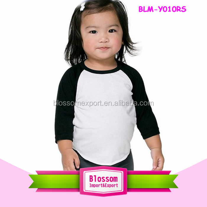 Fashion Custom Infant/toddler White/black 3/4 Sleeve Raglan Baby Kids T Shirts Wholesale Monogram Kid Raglan Shirt