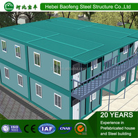Two-storey Prefab House 20ft portable low cost prefabricated hotel container house