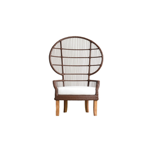 Hormel teak base outdoor furniture high back peacock chair rattan