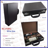 high grade wholesale antique wooden faux leather wine box with accessory set