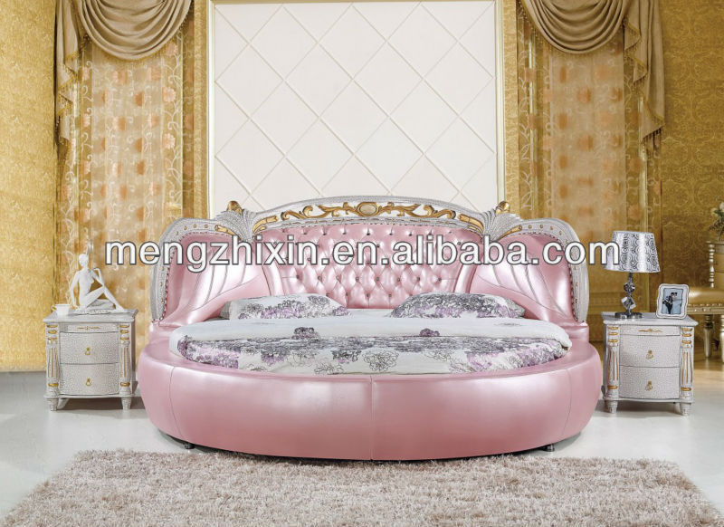 Neoclassic solid wood bedroom furniture round bed on sale B01#