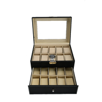 Large capacity 20 slots 2 layers display window luxury watch box high end leather gift box traveling watch storage case
