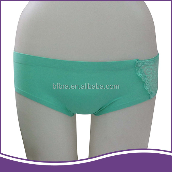 Simple delicate design mint green nylon girls seamless panty for women
