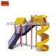 Outdoor children homemade playground spiral slide with roof 8074C