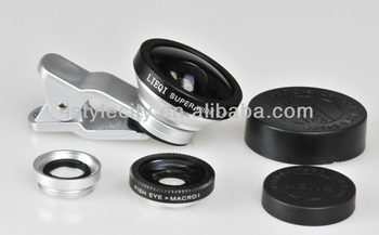 3 in1 Fish Eye + 0.4 x Wide Angle Marco clip Camera Lens for mobile phone