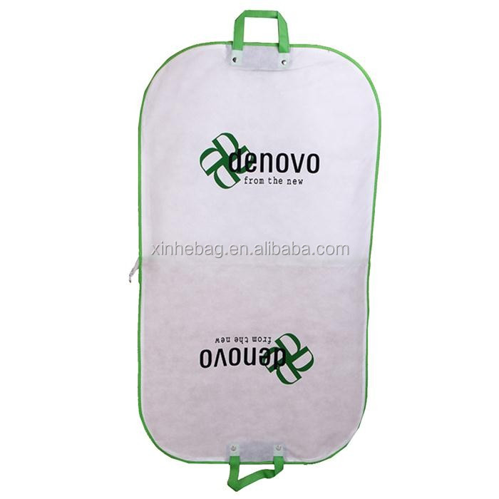 High quality rip- resistant foldable non woven suit garment bag with sturdy zipper and PVC window