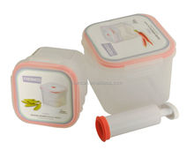 Square food container 2PCS set of pump