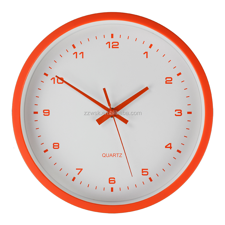 Round shape high quality colorful rubber effect wall clock with Ostar step movement