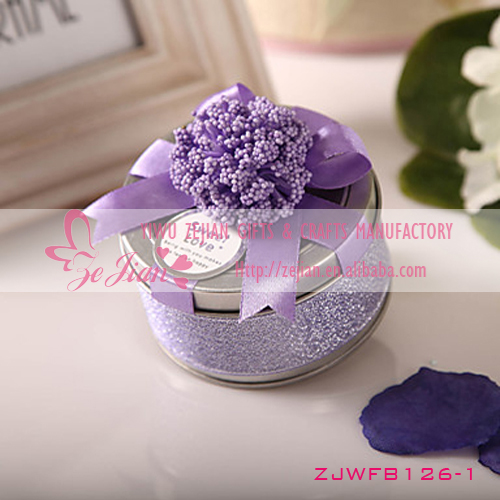 Romantic Purple Flower Tin Plate Candy Boxes Round Shaped Wedding Favors Party Gift Boxes Holders