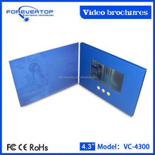 China factory supply competitive price 4.3 inch video brochure with memory card