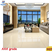 Beige White Glossy Surface Golds Line Full Polished Porcelain Floor Tiles, Cutting Available 16x16 Ceramic Floor Tile