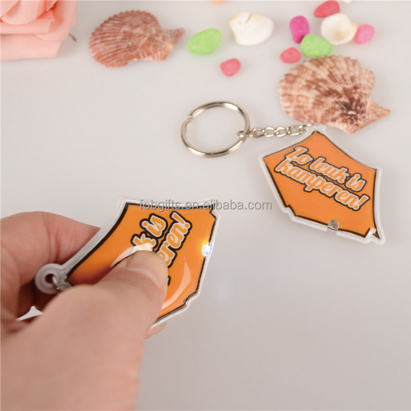 Custom led orange tent pvc keychain