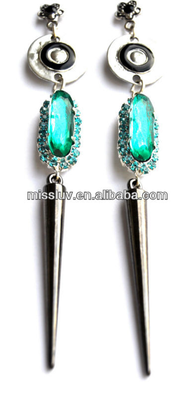 Drop metal earring made with crystals, spick and stone in shiny vivid green
