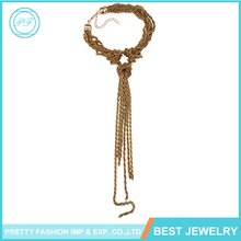 Latest Design Fashion Jewelry Ladies Twisted Alloy Long Gold Chain Tassel Collar Necklace