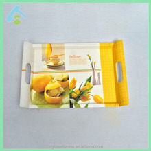 Beach Style Fruit Flower Design Yellow Melamine Contemporary Tray