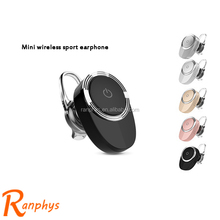 Ranphys high quality portable mini bluetooth earphone wireless hidden invisible super bass headphone