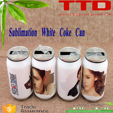 sublimation blanks stainless steel cola can shape vacuum water bottle/coke bottle