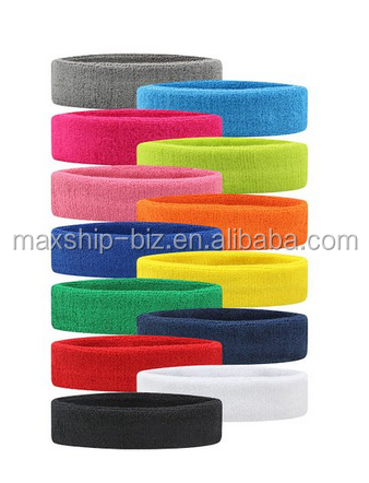 Sweatbands Cotton Sports Headbands Terry Cloth Moisture Wicking Athletic Basketball Headband