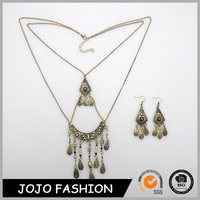 African Jewelry Sets Resin Alloy Pendant Layered Leaf Tassel Earring And Necklace Set