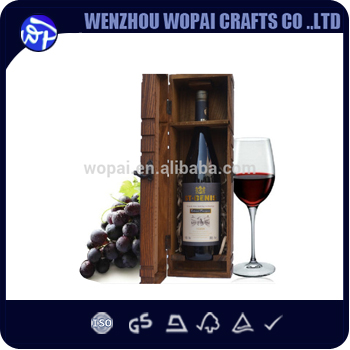 classical Countryside Distressed Wood wine box <strong>oak</strong> wood wine box natural wood color with metal logo
