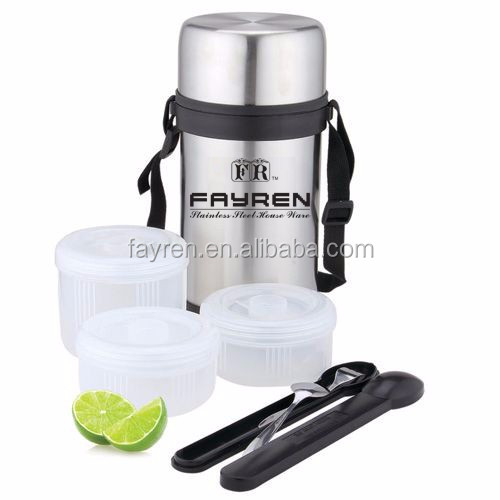 2L Insulated Plastic Bowls Stainless Steel Vacuum Food lunch box