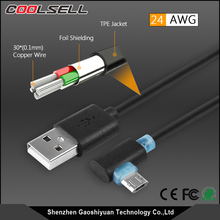 Reversible micro USB and USB A connector 90 degree angle design charging and data sync micro usb cable