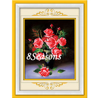 Red Flower Pattern Embroidery Diamond &Rhinestone Painting Wall Hangings Chinese Cross Stitch Set