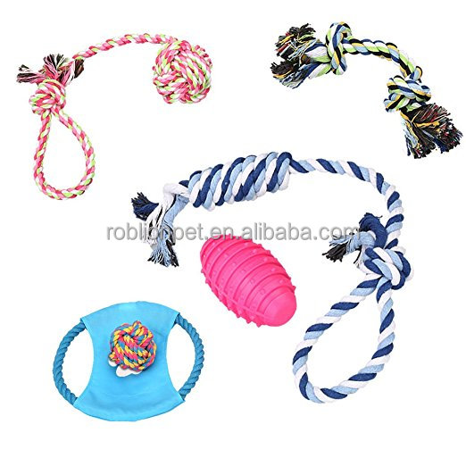 RoblionPet 6 Pack Cotton Rope Dog Toy Gift Set For Puppy /Doggie 2018 Pet Dog Chew Toy