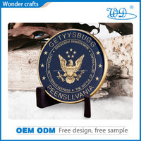 Rich experienced 3d zinc alloy die struck soft enamel gold plating smooth coin edge navy challenge coin with epoxy manufaturer