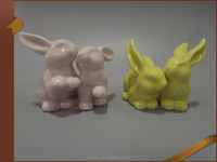 A pair yellow and pink ceramic easter craft porcelain bunny