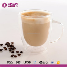 Handblown Insulated Pyrex Heat Resistant Borosilicate Double Wall Thermaos Glass Coffee Cup with Handle