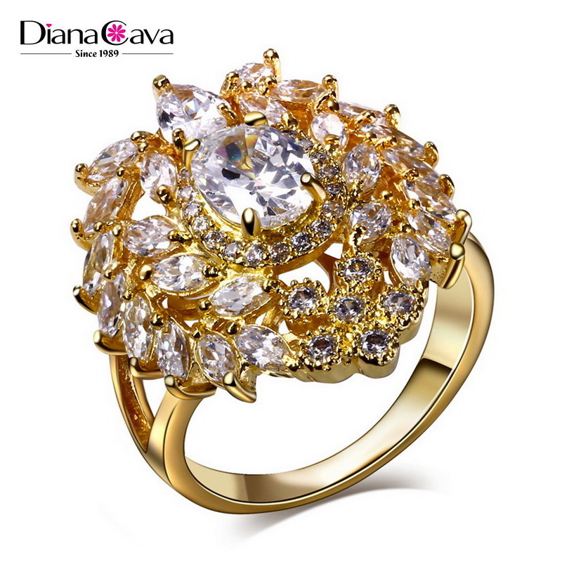 Royal Fashion Best Buy Holiday Season CZ Jewelry Zircon Luxury Clear Stone Cluster Ring