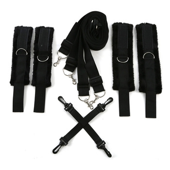 Under Bed Restraints System Ankle Cuff Bondage Set Fetish handcuffs Cross Buckle