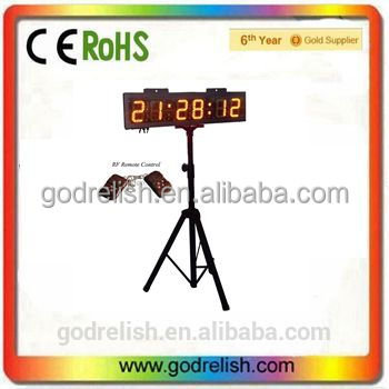 "Godrelish 6"" Yellow Color LED Race Timing Clock Double Sided display with Tripod Wireless RF Control"