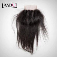 Brazilian Straight Virgin Hair Lace Closure Free Middle 3Part Closure With Baby Hair Bleached Knots 7A Human Hair Swiss Closures
