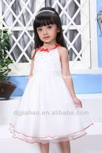 Red beaded and bowknot chest knee length summer dress design patterns kids girls